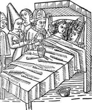 In the Middle Ages the church affected the views on gender roles. Pictured is a German woodcut of a 15th century wedding. (Photo: Freebase)