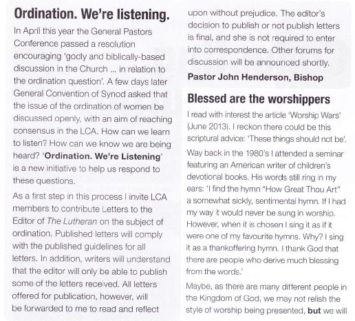 Pr John Henderson invites members to write to The Lutheran